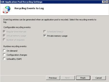 IIS Manager - Application Pool Recycling Log Settings