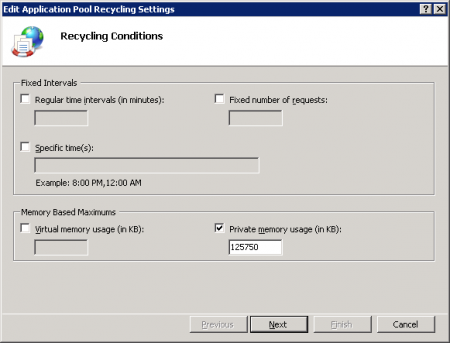 IIS Manager - Application Pool Recycling Settings