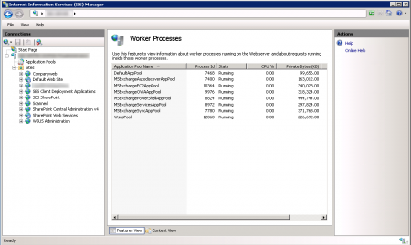 IIS Manager - Worker Processes overview