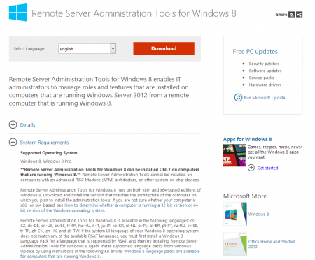 Remote Server Administration Tools Download