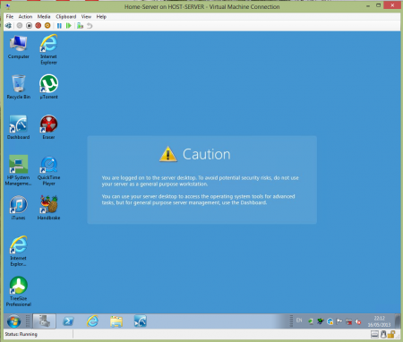 WHS running in Hyper-V Server 2012
