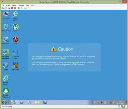 WHS running in Hyper-V Server 2012