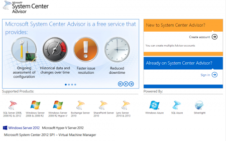 System Center Advisor Website