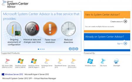 System Center Advisor Website