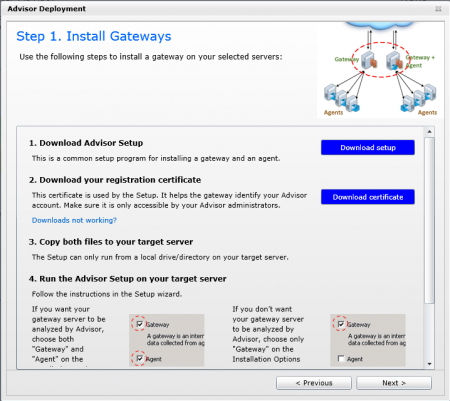 Gateway setup and certificate download